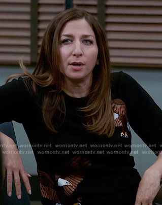 Gina's black eagle embroidered sweater on Brooklyn Nine-Nine