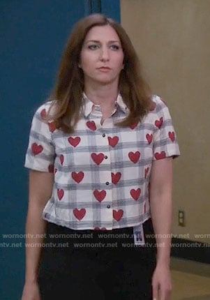 Gina's checked heart print top on Brooklyn Nine-Nine