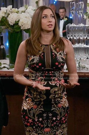 Gina's black floral embroidered dress on Brooklyn Nine-Nine