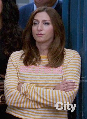 Gina's yellow striped DISCOTHEQUE tee on Brooklyn Nine-Nine