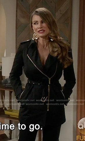 Gloria's black belted jacket on Modern Family