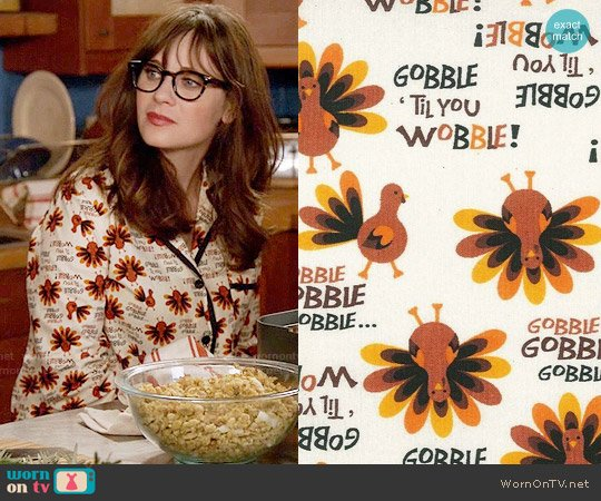 Gobble Till You Wobble Custom Made Pajamas worn by Zooey Deschanel on New Girl