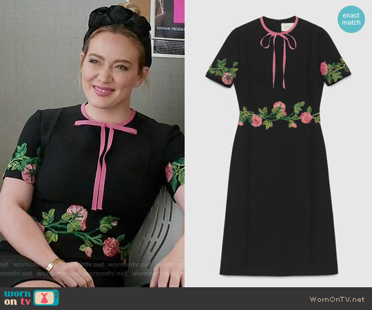 Gucci Embroidered Wool Silk Dress worn by Hilary Duff on Younger