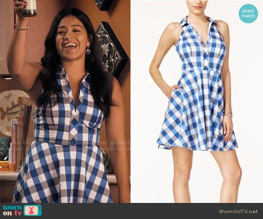 Guess Janette Gingham Halter Shirtdress worn by Gina Rodriguez on Jane the Virgin