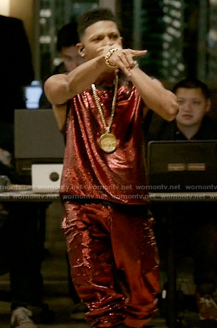Hakeem's red sequin top and pants on Empire