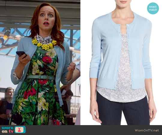 Halogen Three Quarter Sleeve Cardigan in Blue Cashmere worn by Cassandra Cillian on The Librarians