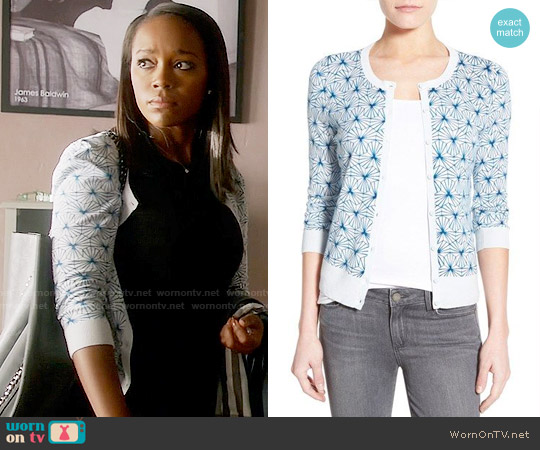 Halogen Three Quarter Sleeve Cardigan in Blue Amparo worn by Aja Naomi King on HTGAWM