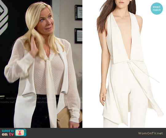 Halston Heritage Plunge Tie Front Vest worn by Katherine Kelly Lang on The Bold & the Beautiful