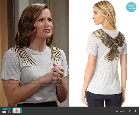 Haute Hippie Eagle Tee worn by Melissa Claire Egan on The Young & the Restless