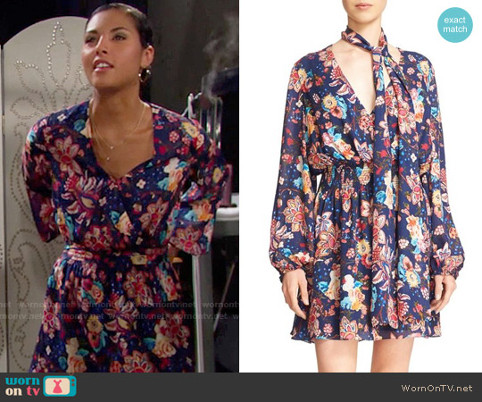 Haute Hippie Floral Print Silk Mini Dress worn by Felisha Cooper on The Bold & the Beautiful
