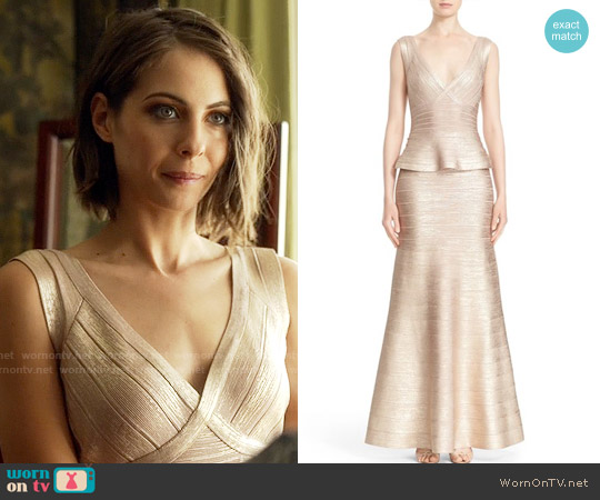 Herve Leger 'Izabella' Woodgrain Metallic Foil Peplum Gown worn by Willa Holland on Arrow