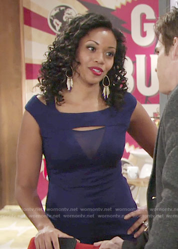 Hilary's blue cutout top with mesh panel on The Young and the Restless