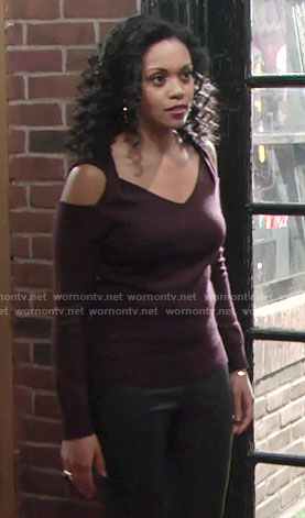 Hilary's purple cold shoulder sweater on The Young and the Restless