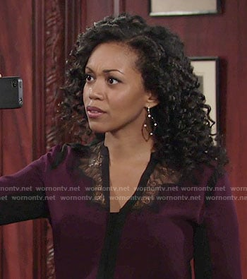 Hilary's purple blouse with black lace on The Young and the Restless