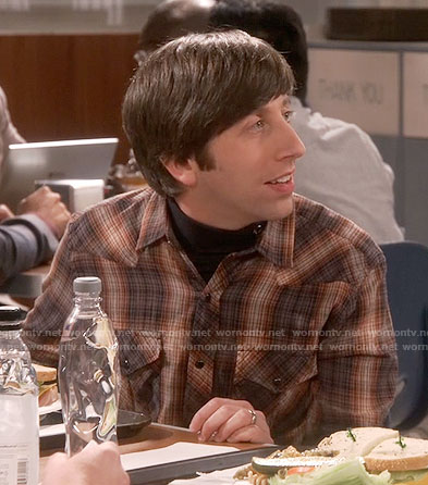 Howard's brown plaid shirt on The Big Bang Theory