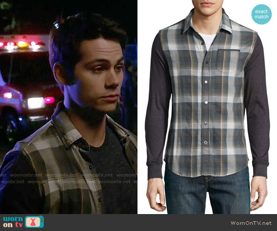 Howe Plaid Button-Down Shirt w/ Knit Sleeves worn by Dylan O'Brien on Teen Wolf