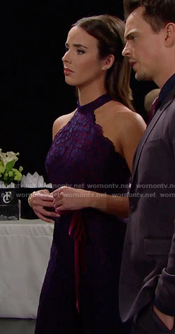 Ivy's purple lace jumpsuit on The Bold and the Beautiful
