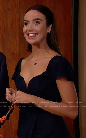 Ivy's navy Thanksgiving dress on The Bold and the Beautiful