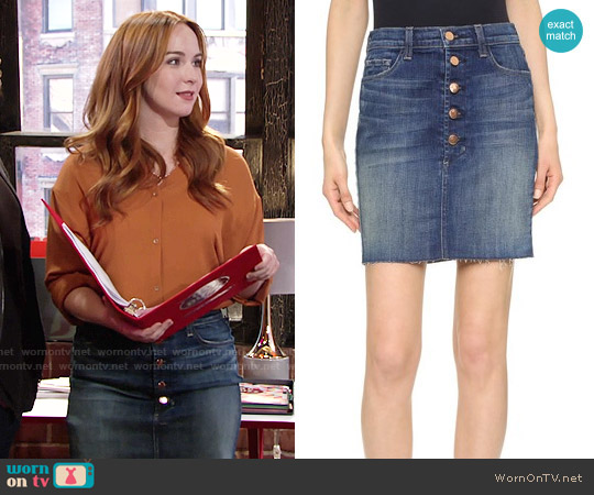 J Brand Rosalie Skirt worn by Mariah Copeland on The Young & the Restless