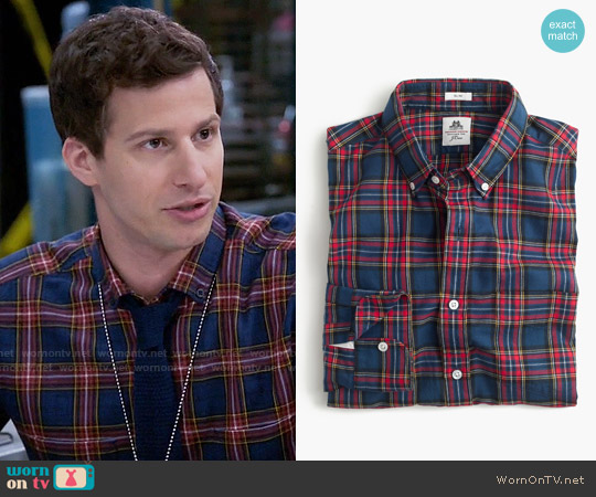 Thomas Mason for J. Crew Flannel Shirt in Dark Royal Plaid worn by Andy Samberg on Brooklyn Nine-Nine