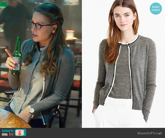 J. Crew Tipped Jackie Cardigan worn by Melissa Benoist on Supergirl