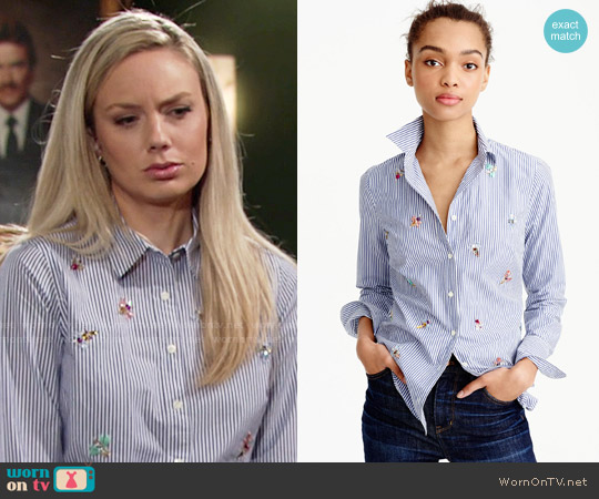 J. Crew Perfect Shirt with Bee Embellishment worn by Melissa Ordway on The Young & the Restless