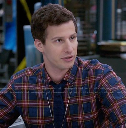 Jake's blue and red plaid shirt on Brooklyn Nine-Nine