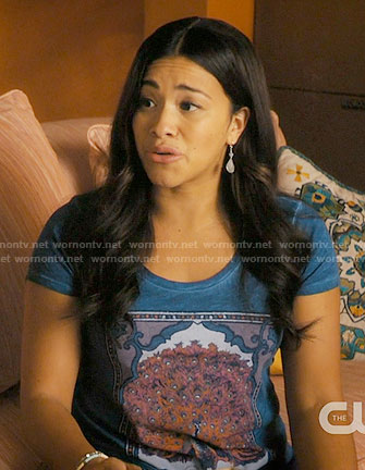 Jane's blue peacock graphic tee on Jane the Virgin