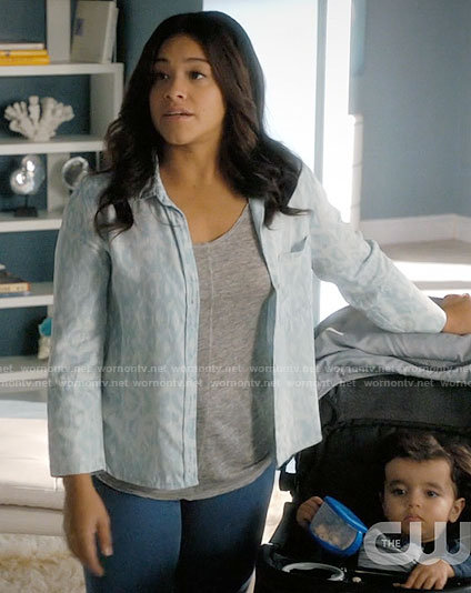 Jane's faded leopard print chambray shirt on Jane the Virgin