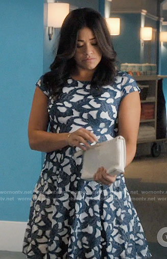 Jane's navy and white lace dress on Jane the Virgin