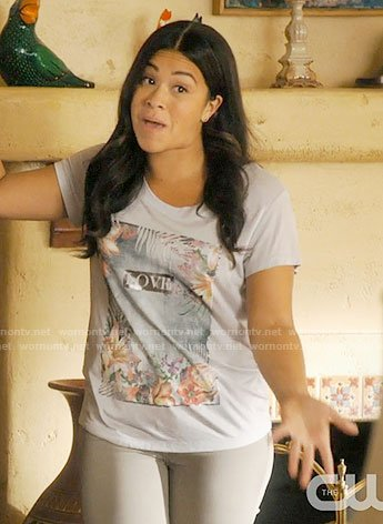 Jane's tropical love graphic tee on Jane the Virgin