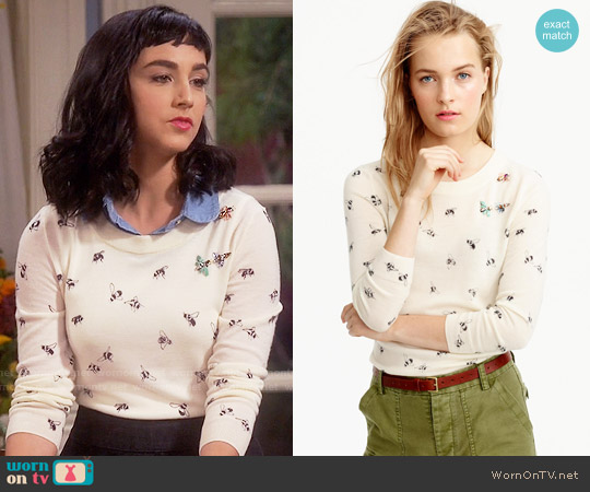 J. Crew Tippi Sweater in Embellished Bee Print worn by Mandy Baxter ( Molly Ephraim) on Last Man Standing