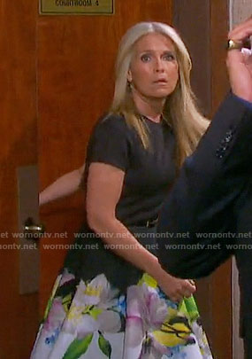 Jennifer's black dress with floral print skirt on Days of our Lives