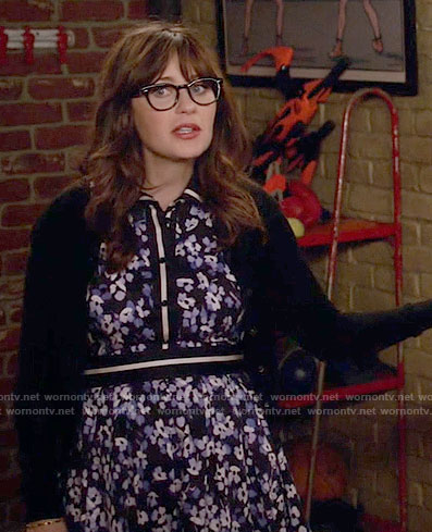 Jess's blue floral Thanksgiving dress on New Girl