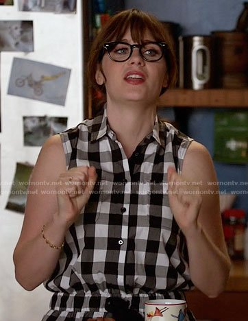 Jess's gingham checked romper on New Girl