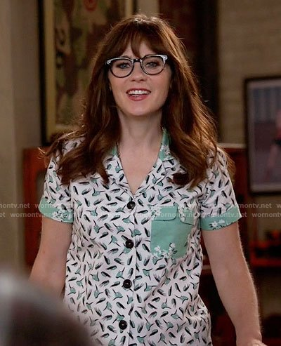 Jess's green bird print pajamas on New Girl
