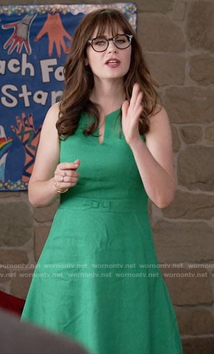 Jess's green split-neck dress on New Girl