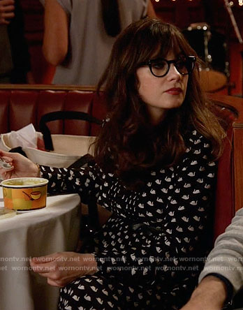 Jess's swan print dress on New Girl