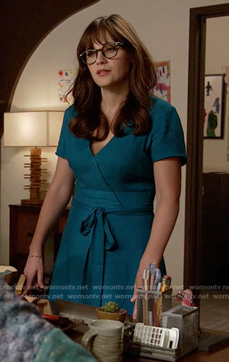 Jess's teal wrap dress on New Girl