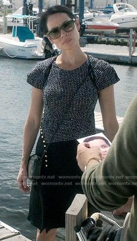 Wornontv Joan S Black Asymmetric Dress With Striped