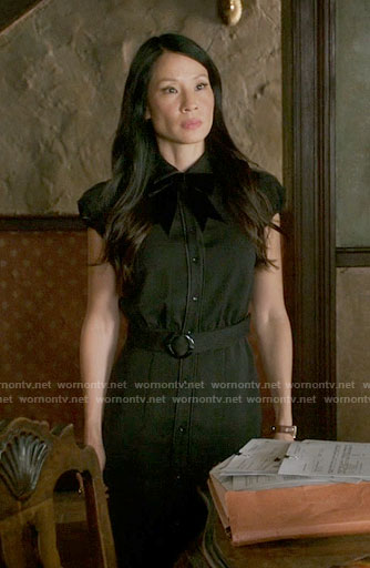 Joan's black belted shirtdress on Elementary
