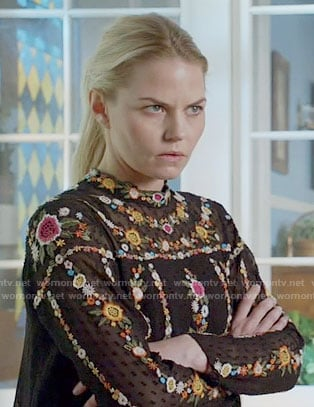 Emma's black floral embroidered top on Once Upon a Time