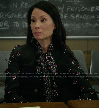 Joan's mixed floral print tie neck blouse on Elementary