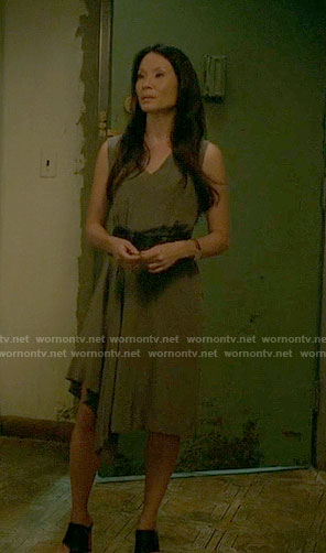 Joan's asymmetrical draped dress on Elementary