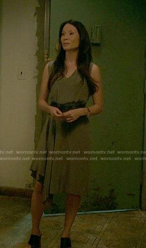 Joan's asymmetrical draped dress on Elementary