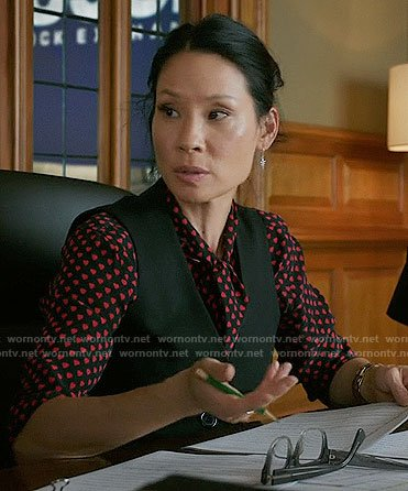 Joan's heart print blouse on Elementary