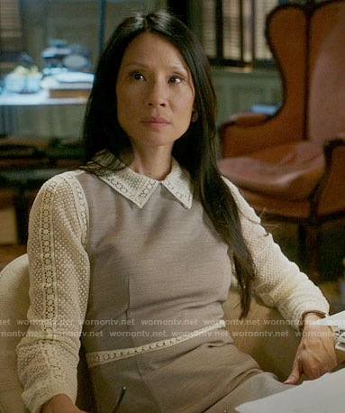 Joan's dress with lace collar and sleeves on Elementary