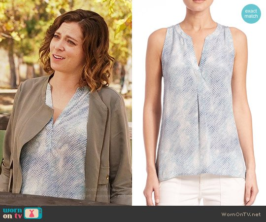 Joie Aruna Top in Sea Skin worn by Rebecca Bunch (Rachel Bloom) on Crazy Ex-Girlfriend