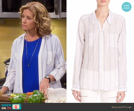 Joie Conaway Ticketing Stripe Shirt worn by Nancy Travis on Last Man Standing