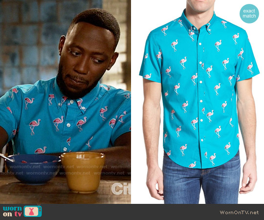 Bonobos 'Flamingo Stand' Slim Fit Short Sleeve Sport Shirt worn by Lamorne Morris on New Girl